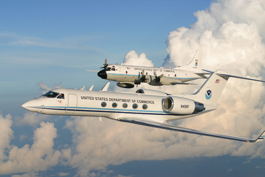 NOAA's P-3 Orion an dG-IV hurricane hunter aircraft
