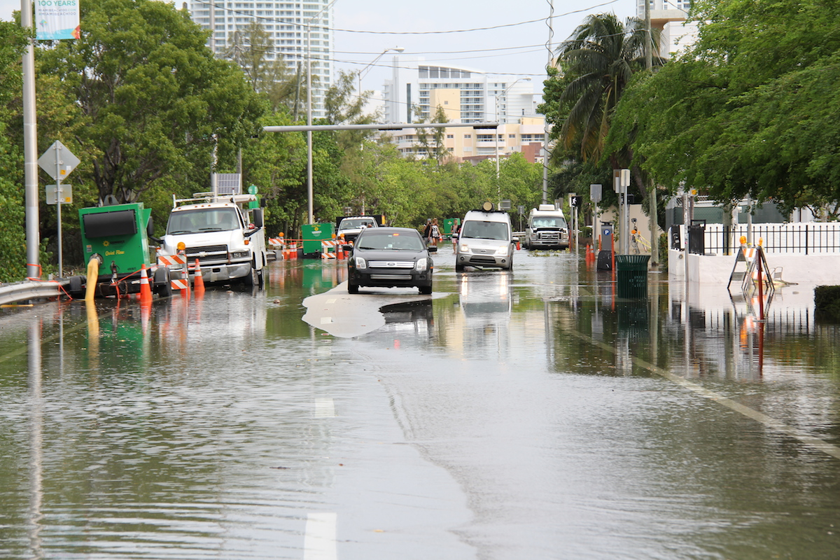 Floodwaters cover portions of Indian Creek Dr. in Miami Beach. Image credit:NOAA
