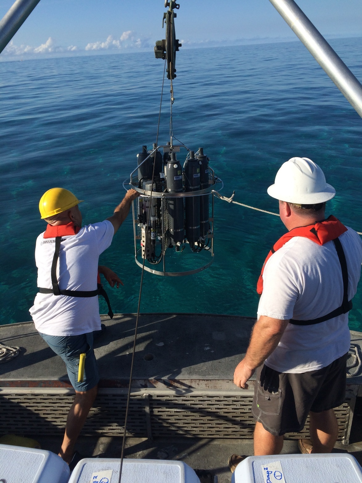 Scientists deploy a CTD instrument to collect water for nutrient, microbial and metagenomics analysis. Image credit: NOAA
