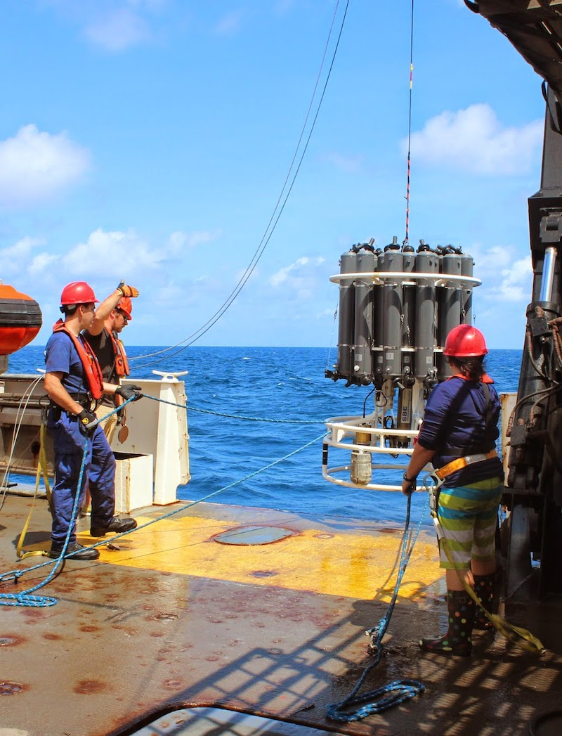 CTD package being recovered by NOAA Corps officers Jim Europe, Aras Zygas and Alexis Sabine (DPNR). Image credit: NOAA