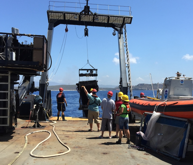 The Nancy Foster team deploys the MOCNESS net during Leg 2 in the northern Caribbean. Image credit: NOAA