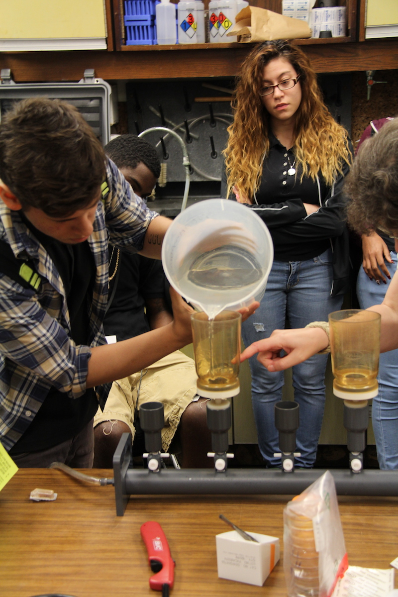 Students from Miami's Booker T. Washington High School participate in STEM activities directed by researchers at NOAA's AOML for My Brother's Keeper National Labs Week. Image credit: NOAA