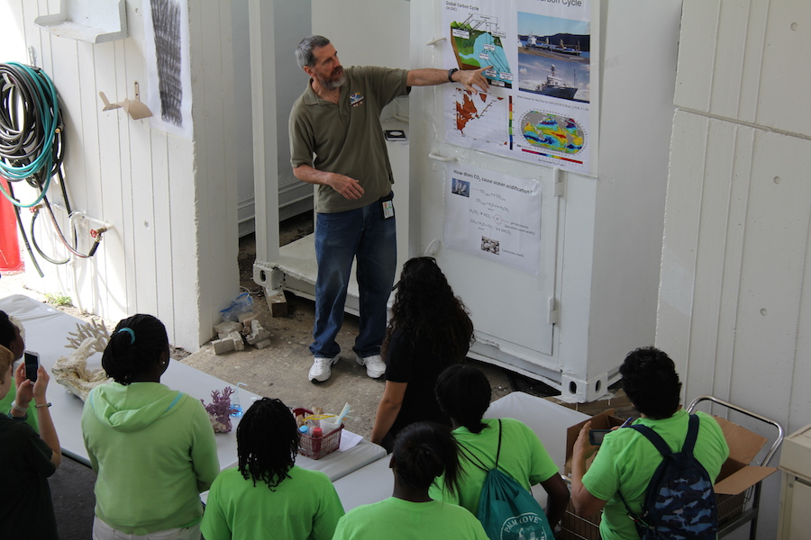 AOML scientist discusses the global carbon cycle with a group of students. Image credit: NOAA