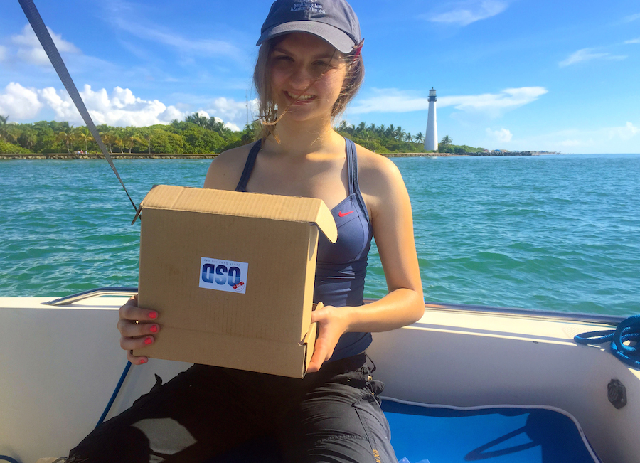 A citizen scientist uses a MyOSD kit to collect a sample in the waters off Bill Baggs State Park on Key Biscayne. Image credit: NOAA
