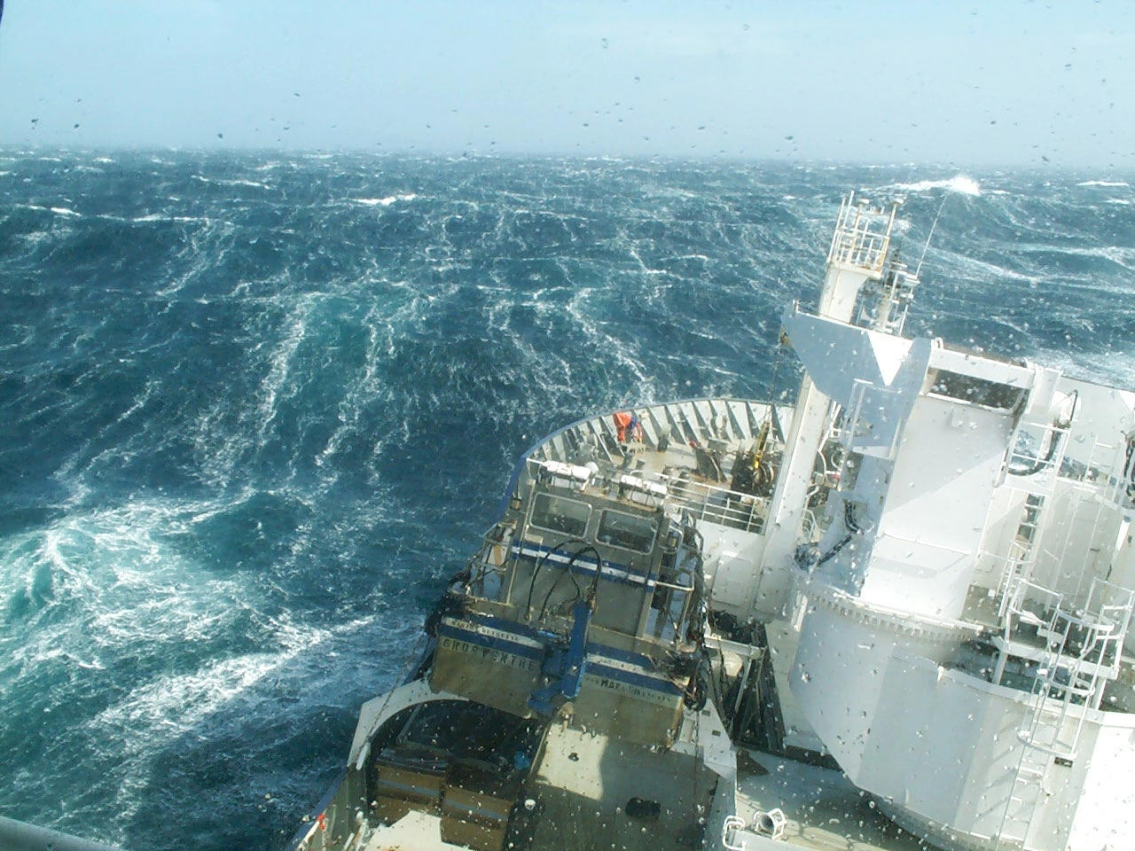 A research vessel ploughs through the waves, braving the strong westerly winds of the Roaring Forties in the Southern Ocean in order to measure levels of dissolved carbon dioxide in the surface of the ocean. (Nicolas Metzl, LOCEAN/IPSL Laboratory).