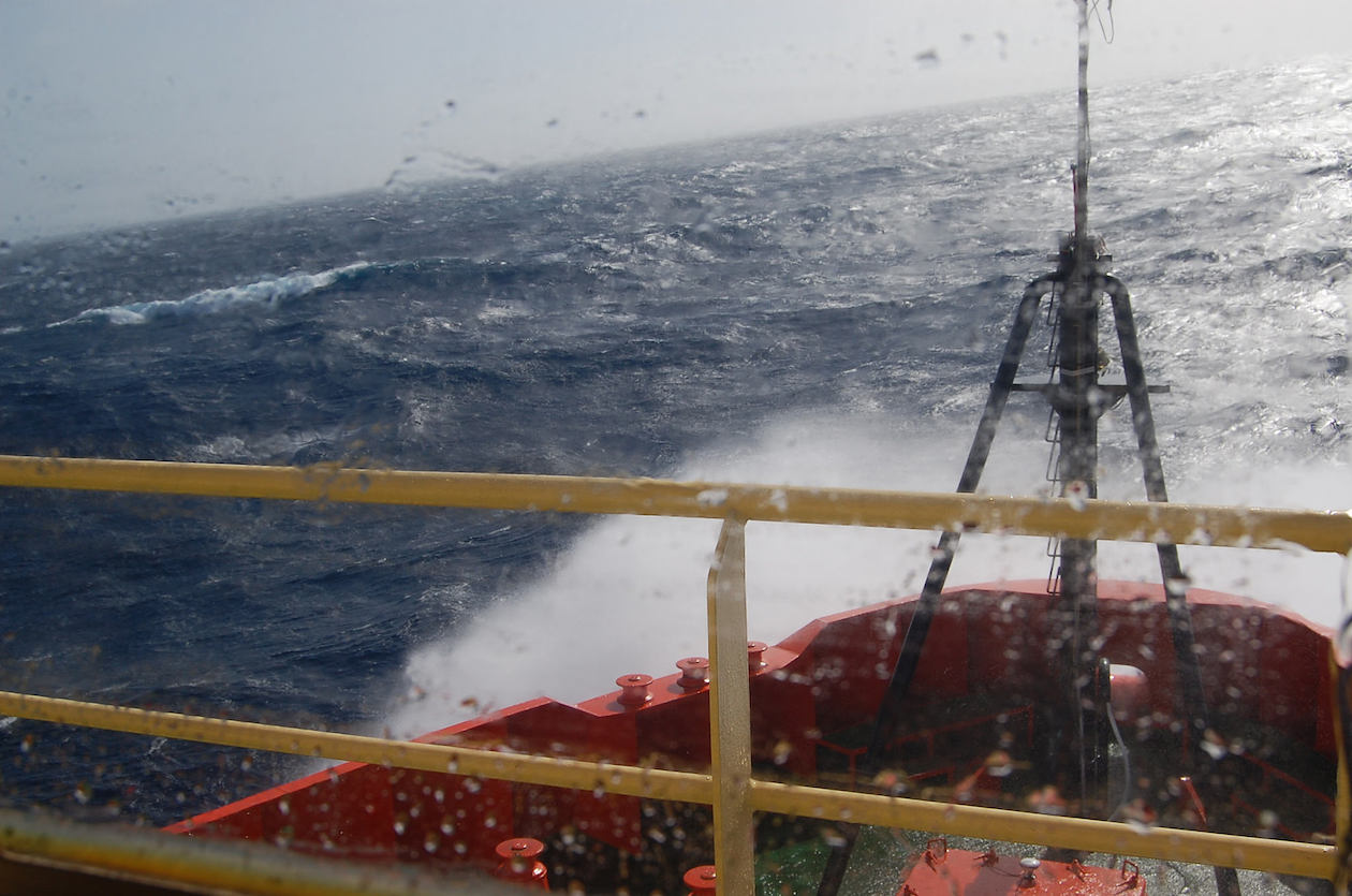 The ARSV Laurence M. Gould makes nearly 20 crossings of the Drake Passage each year. (Colm Sweeney / CIRES & NOAA)