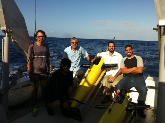 The glider deployment team including AOML's Grant Rawson (second from right). Image credit: NOAA