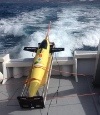 The first glider in position for deployment from the R/V La Sultana. Image credit: NOAA