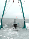 Wave glider ready for deployment off the Gulf Coast Research Laboratory's R/V Tommy Munro. Image credit: NOAA