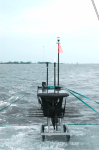 A wave glider ready for deployment off the Gulf Coast Research Laboratory's R/V Tommy Munro. Image credit: NOAA