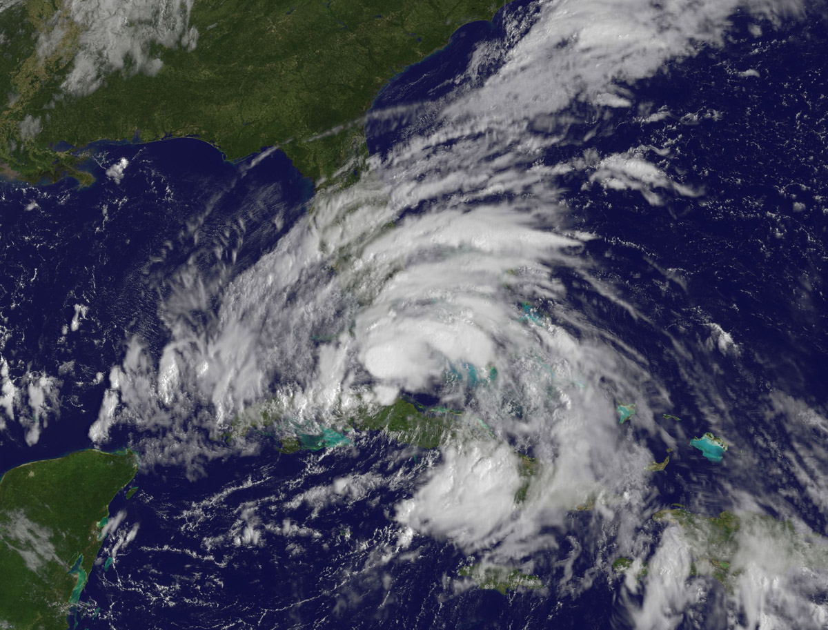 Tropical Storm Isaac as it passes over the Florida Keys on August 26, 2012. Image Credit: NOAA