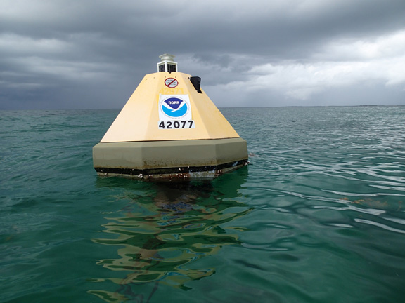 Buoy that measures carbon dioxide at Cheeca Rocks in the Florida Keys National Marine Sanctuary