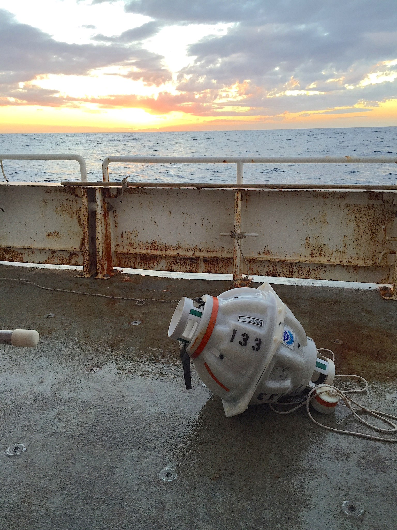 Inverted echo sounder retrieved from the ocean floor. Image credit: NOAA