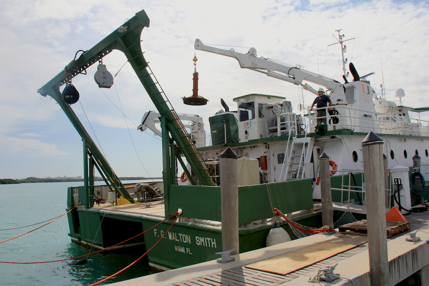 PhOD personnel load equipment onto the R/V F.G. Walton Smith in preparation for their hydrographic survey in the Florida Straits. Image Credit: NOAA