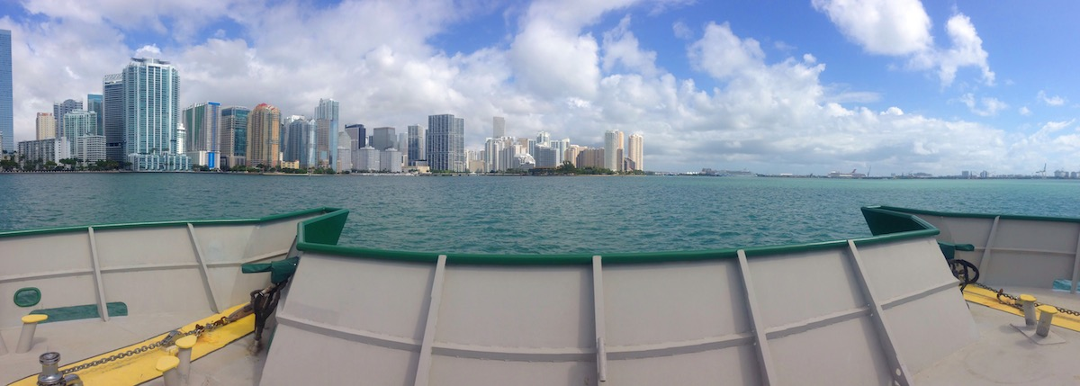 The R/V F.G. Walton Smith passes the Miami skyline on its way to the Florida Straits. Image credit: NOAA