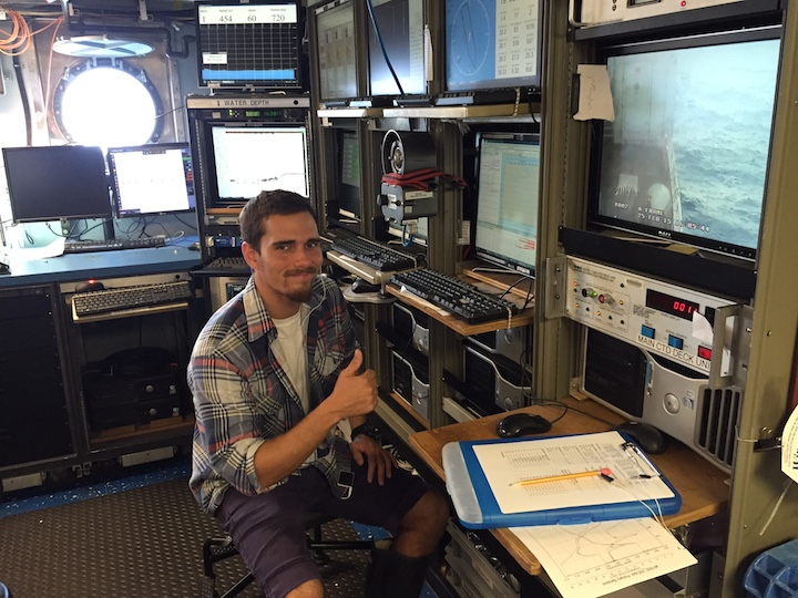 Miguel Figurrola Hernaez running the CTD console on the midnight to noon shift. Image credit: NOAA