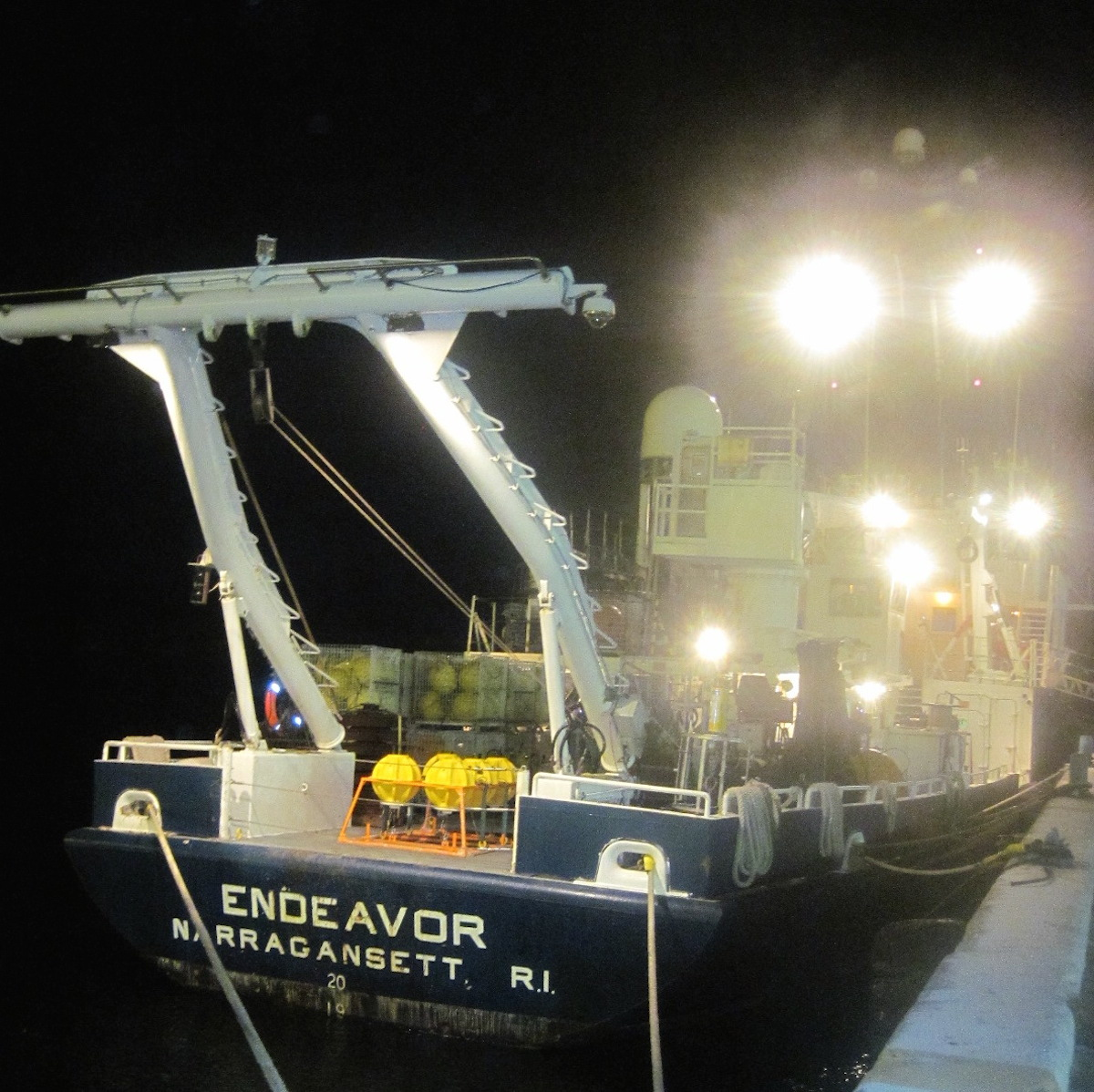 An image of the R/V Endeavor, the vessel being used for the joint NOAA & NSF research cruise, the night before sailing. Photo credit: NOAA