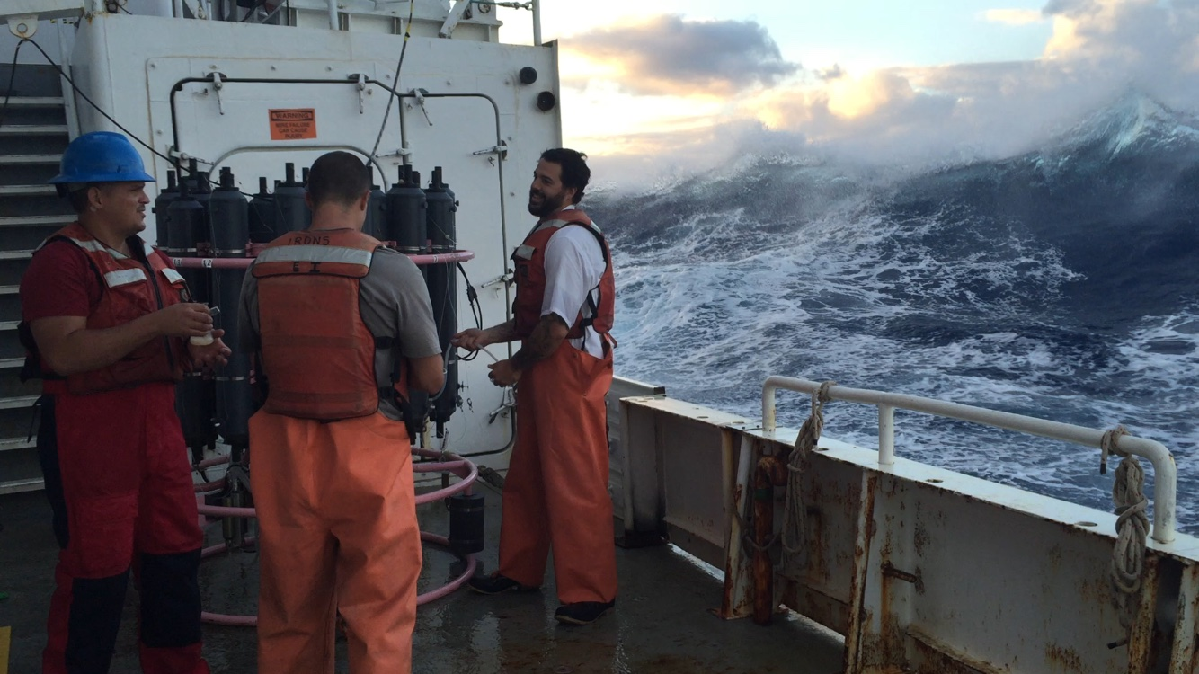 Working on the deck of the R/V Endeavor during high seas. Image credit: NOAA