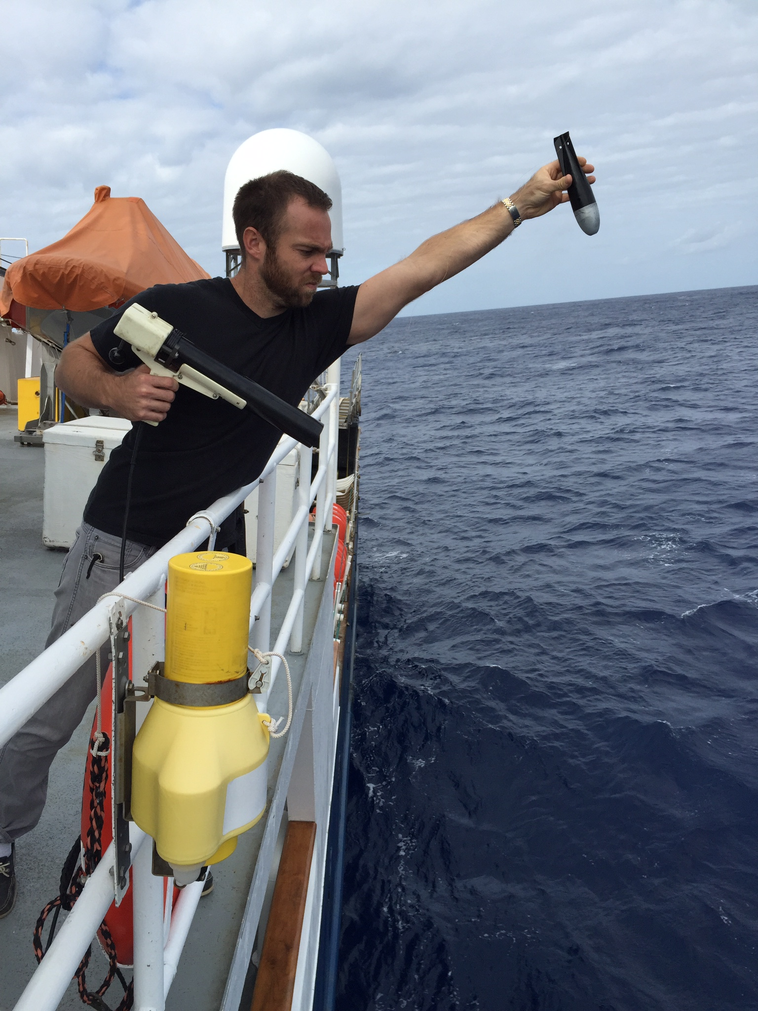 Jay Hooper conducting an XBT fall rate test. Image credit: NOAA