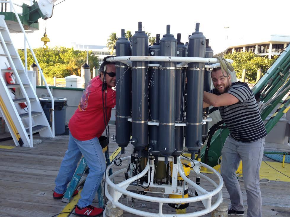 CTD/O2/LADCP instrument being loaded onto the deck of the R/V F.G. Walton Smith. Image credit: NOAA