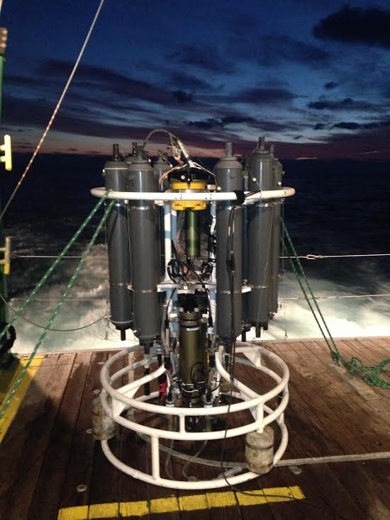 AOML's CTD/O2/LADCP instrument package is recovered, secured, and ready for sampling following the first station at 27N in the Florida Straits. Image credit: NOAA