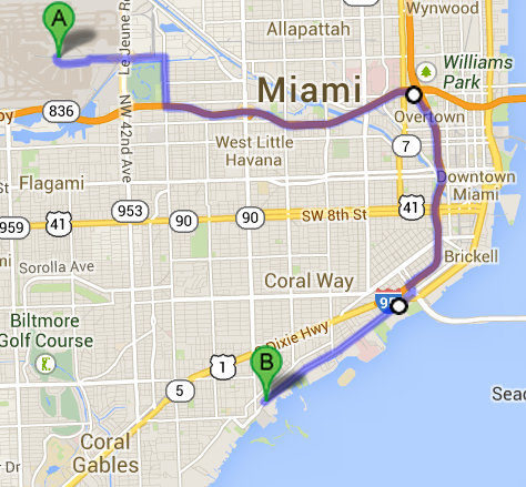 map from MIA to hotel