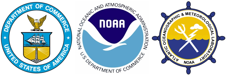 Logos for Dept. of Commerce, NOAA, and AOML