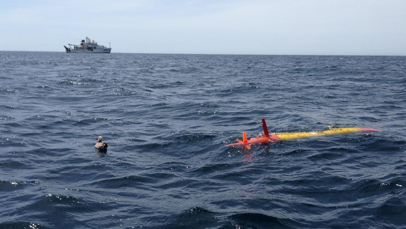 An eAUV is deployed during April 2017 CalCOFI cruise. Image credit: NOAA