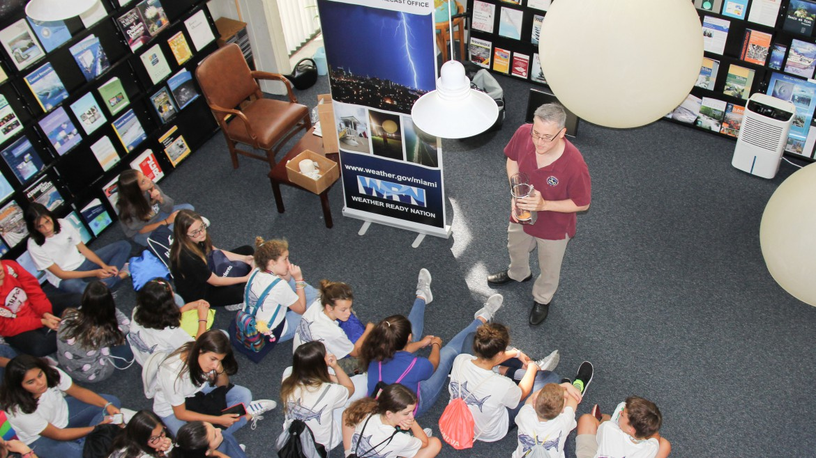 National Hurricane Center speaks to kids at Open House 2018.