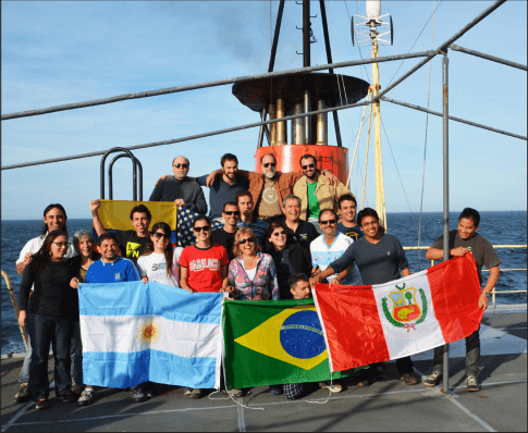 Science party aboard the Argentine research vessel ARA Puerto Deseado during a cruise to study the Meridional Overturning Circulation in the South Atlantic on October 4-16, 2014. Credit: SHN Argentina