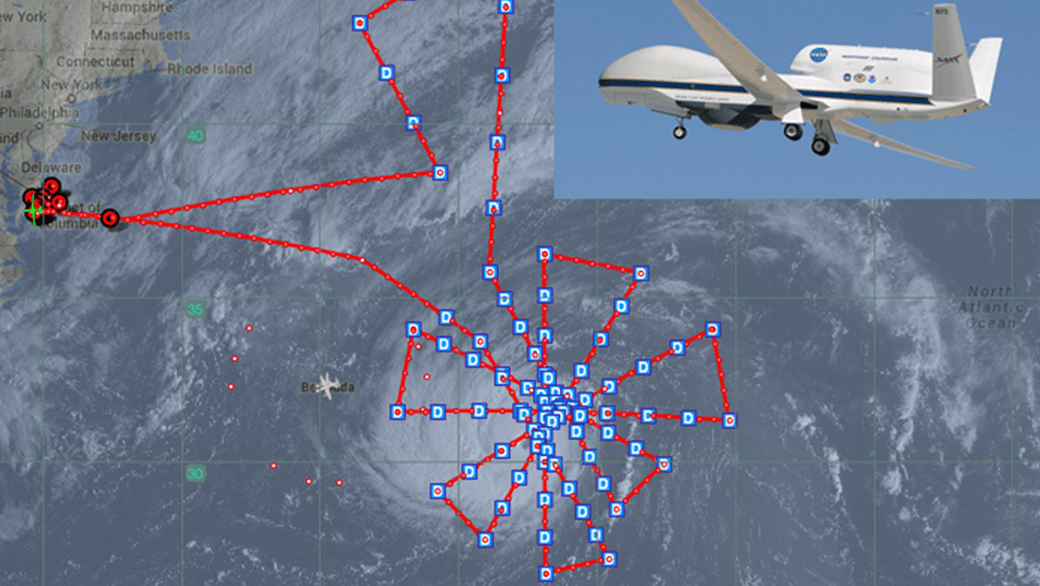NASA's Global Hawk and the flight pattern created by AOML hurricane researchers to observer Hurricane Edouard. Image credit: NASA