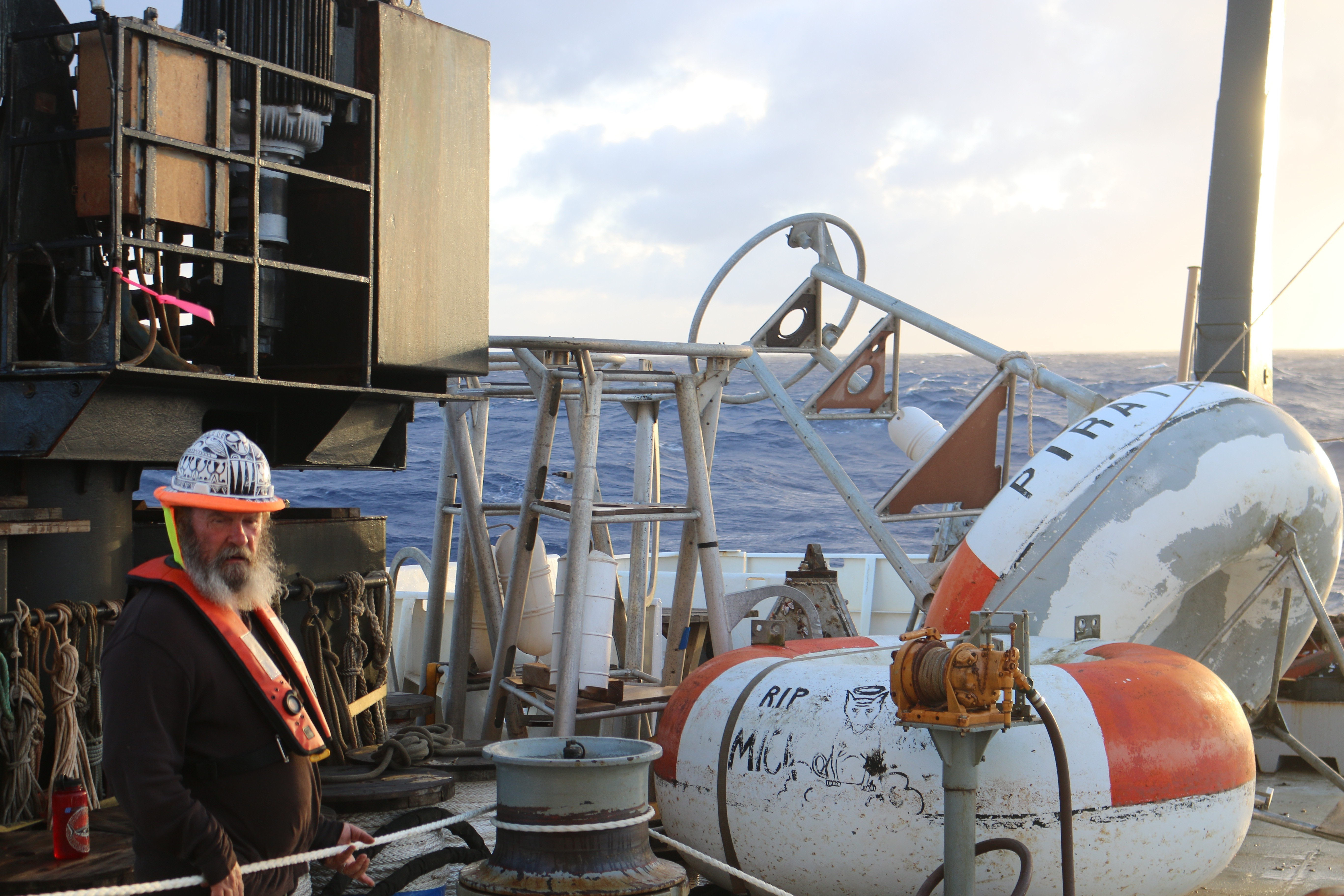Pirata Buoys on the back of the R/V Ronald H. Brown. Special thanks to the Crew of the Ronald H. Brown for capturing the Scientists at Sea. Photo Credit: NOAA.