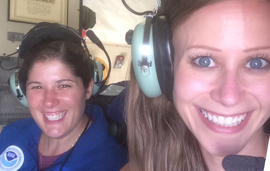 Kelly Ryan and Heather Holback Aboard a P3 Aircraft