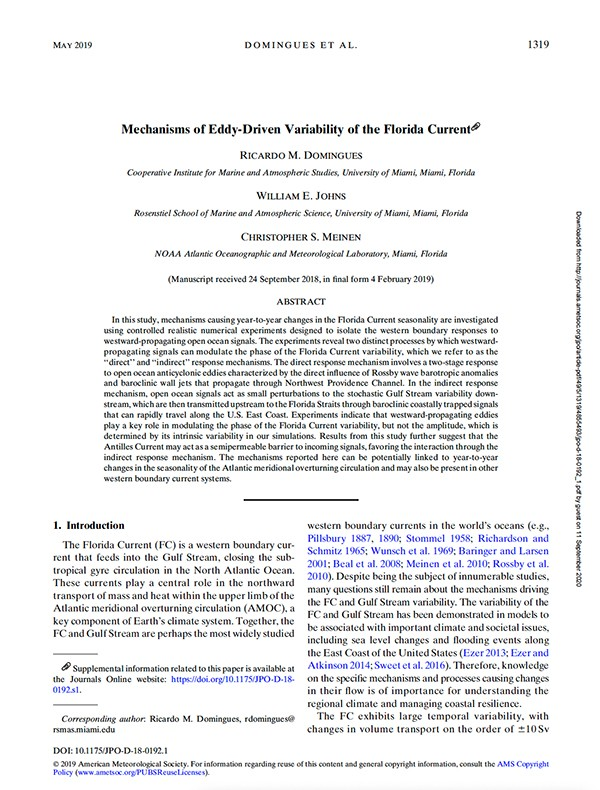 Front page of paper Mechanisms of Eddy-Driven Variability. Image Credit, NOAA AOML.