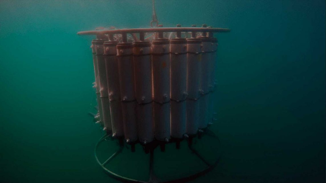 CTD Descends into the depths to collect water samples for use with eDNA technologies.