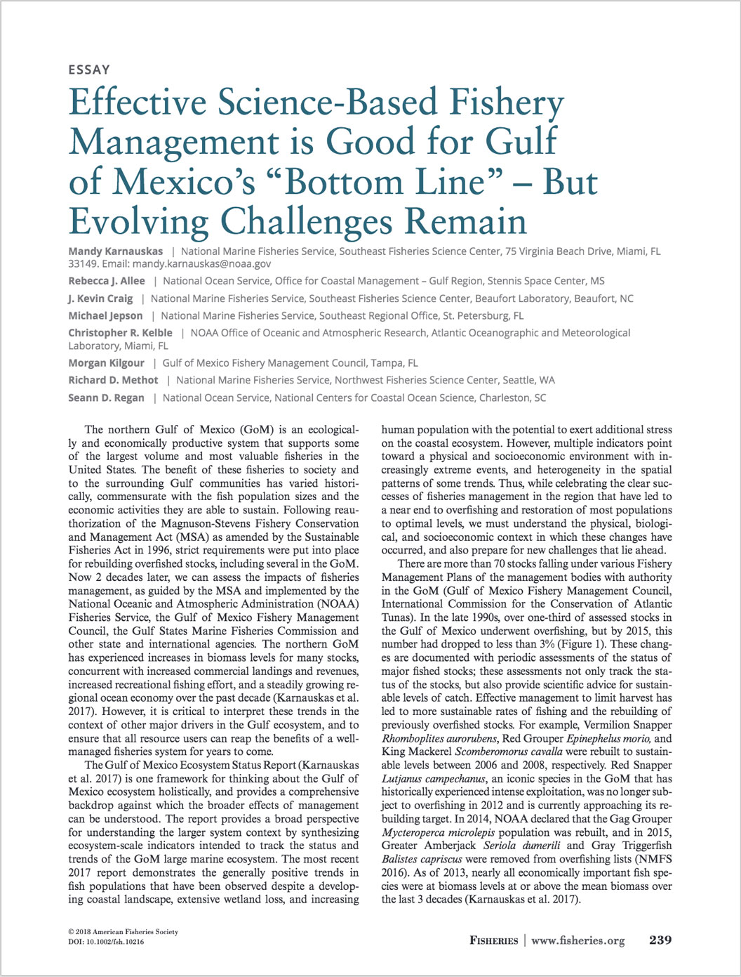 "Essay: Effective Science- Based Fishery Management is Good for Gulf of Mexico's ""Bottom Line"" – But Evolving Challenges Remain"
