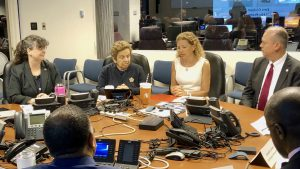 Deputy director of AOML, Molly Baringer briefs Congresswomen Debbie Wasserman Schultz and Donna Shalala on advancements in the field of hurricane research. National Hurricane Center Director, Ken Graham, and Meteorologist-in-Charge for Miami, Pablos Santos, also joined the briefing.