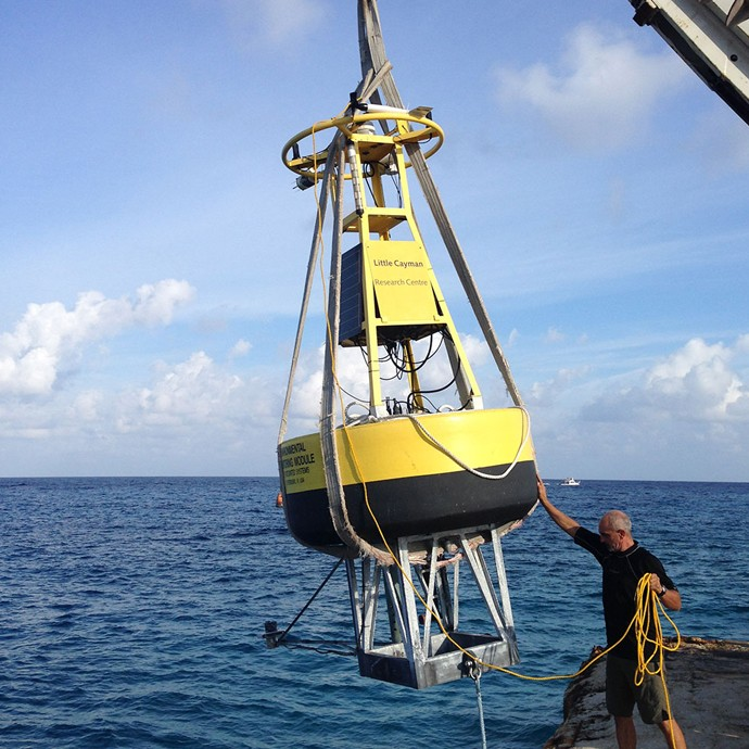 Researchers with the Central Caribbean Marine Institute (CCMI) finished redeploying their CREWS buoy off Little Cayman Island during the month of October. Image credit: Central Caribbean Marine Institute