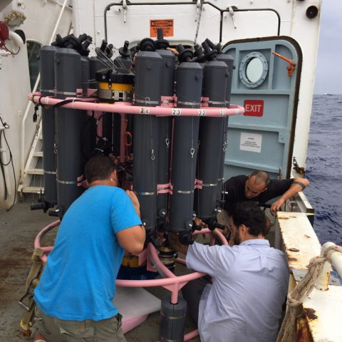 Installing a new ADCP on the CTD rosette. Image credit: NOAA