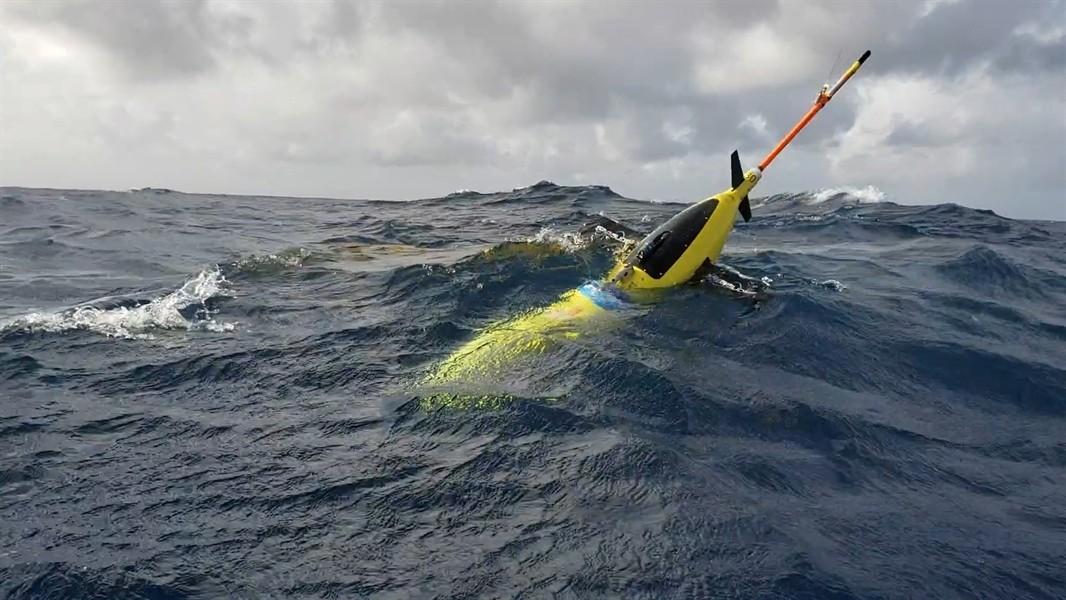 A NOAA ocean glider begins a dive