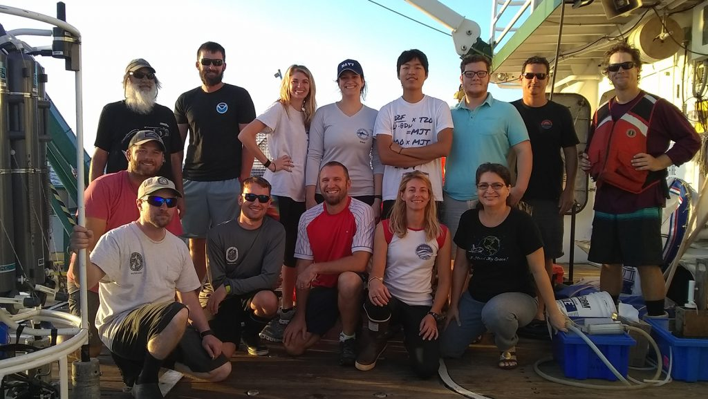 Photo of the Red Tide Cruise scientists on the deck of the R/V Walton Smith. Photo Credit: NOAA/ AOML