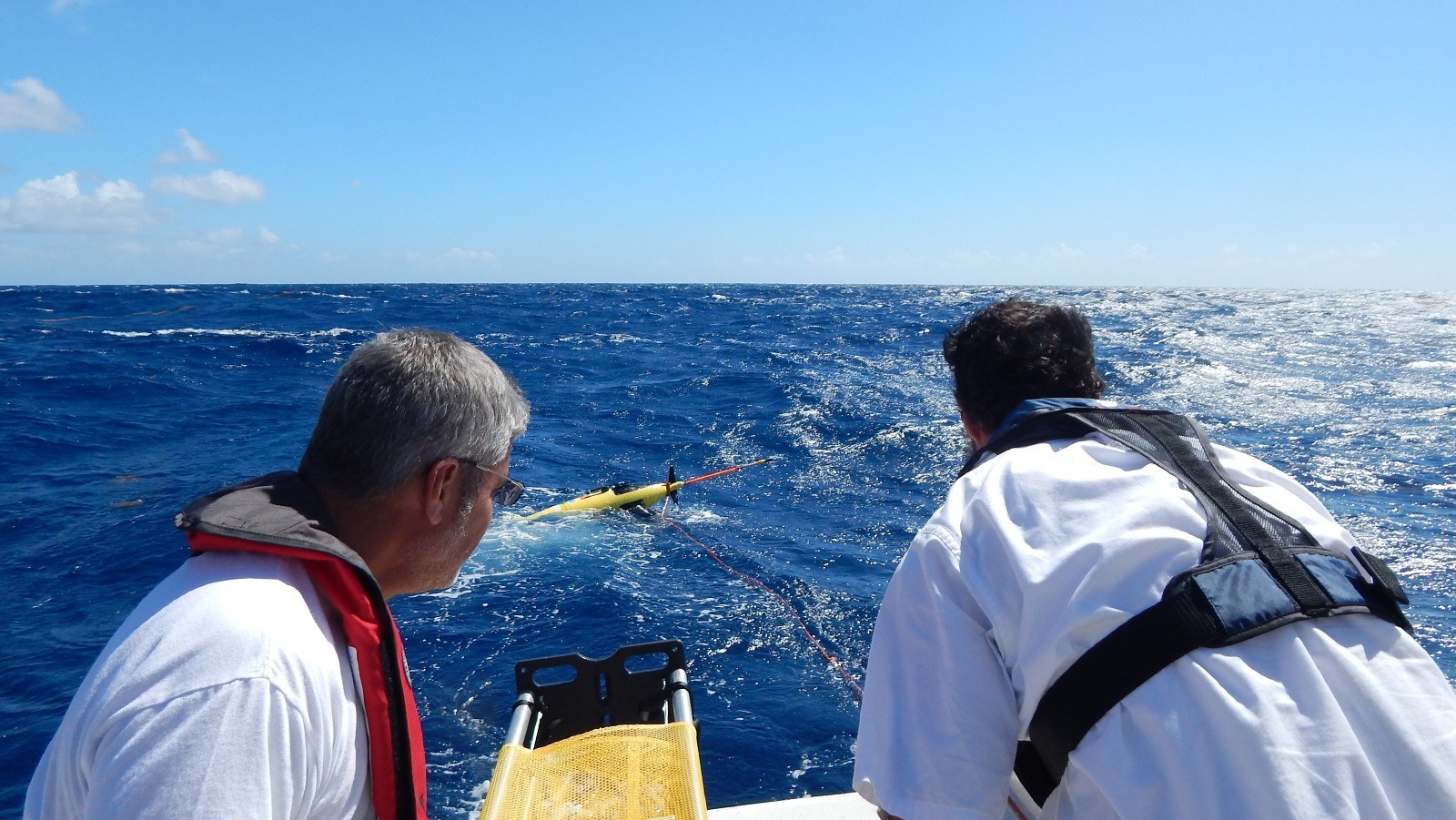 Professor Julio Morell of The University of Puerto Rico at Mayaguez and AOML's Grant Rawson, watch the glider drift away after deploying it on February 6, 2015. Image credit: NOAA
