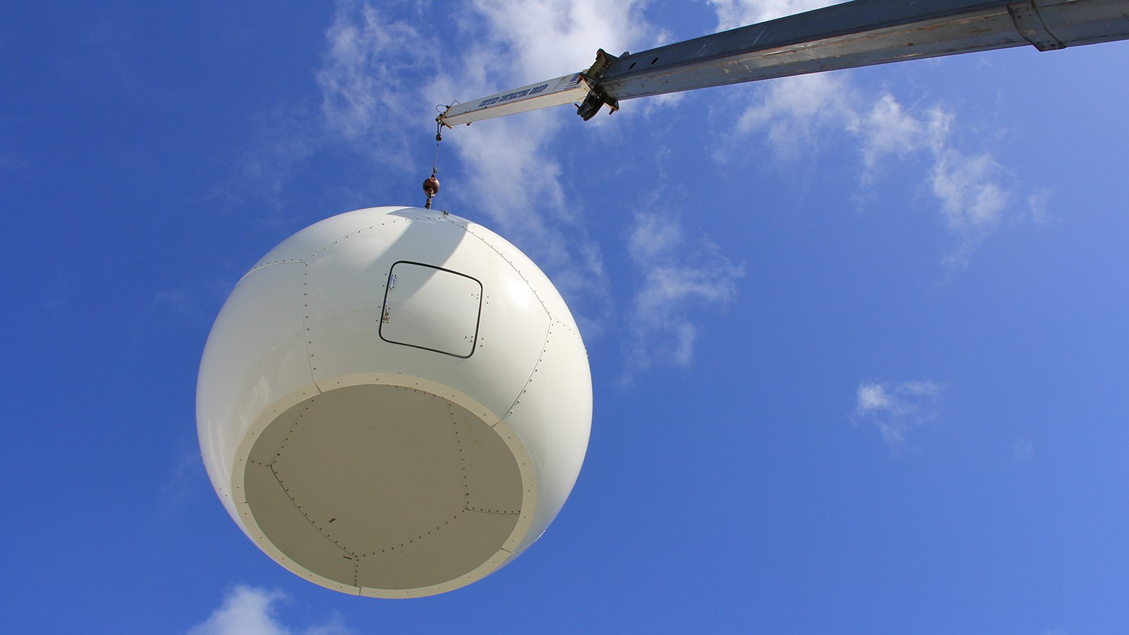 The radome hangs above AOML. Image credit: NOAA