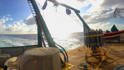 The deck on the R/V Walton Smith where the CTD equipment is launched and retrieved. Image credit: NOAA