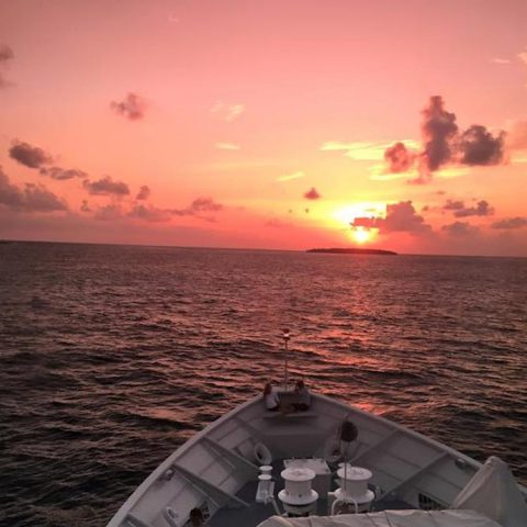 Chagos sunset aboard the R/V Golden Shadow. Photo credit: Lauren Valentino, NOAA