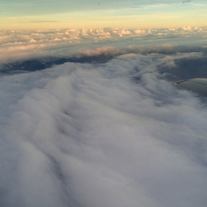 Cloud cover as seen out of the window of the P-3 aircraft as it flies through Hurricane Danny. Image credit: NOAA