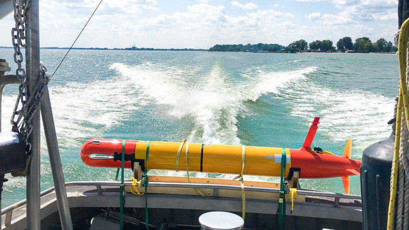 An eAUV that will be used to detect algal blooms in the Great Lakes.