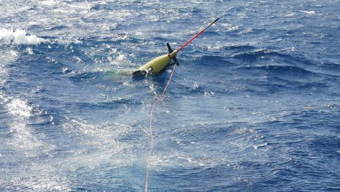 The glider in the water after launch. Image credit: NOAA