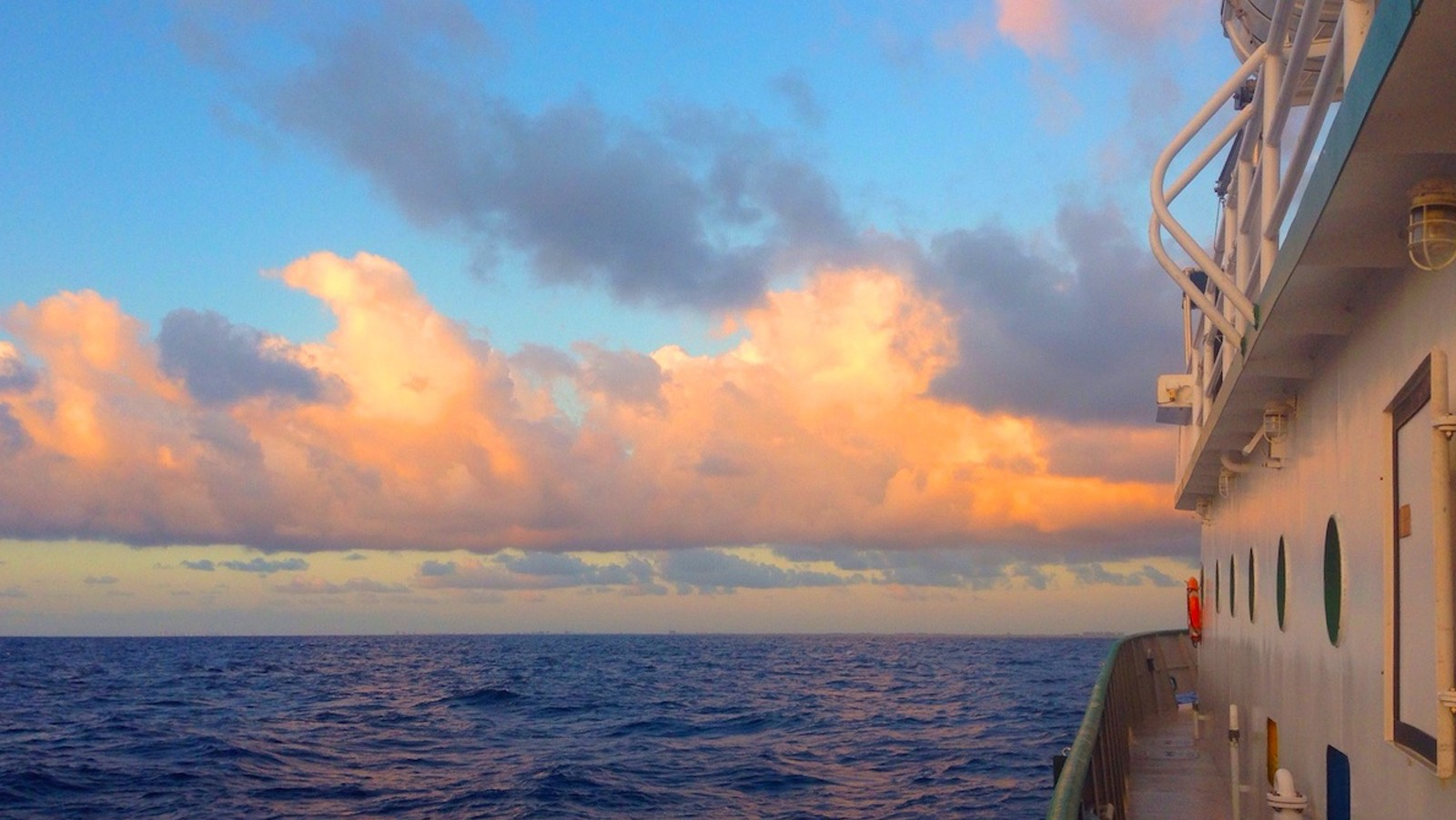 Sunset aboard the R/V F.G. Walton Smith. Image credit: NOAA