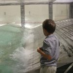 Child watches wave tank in action during take your child to work day. Photo Credit: NOAA AOML.